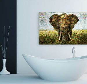Mosaic alu-dibond bathroom elephant