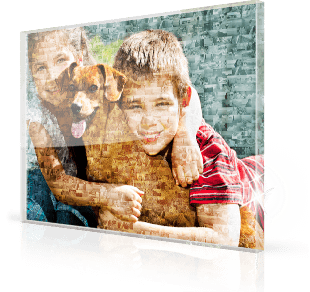 photo mosaic acrylic children and dog