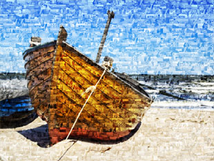 photo mosaic boat