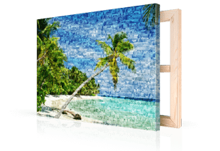 Photo mosaic on canvas beach small