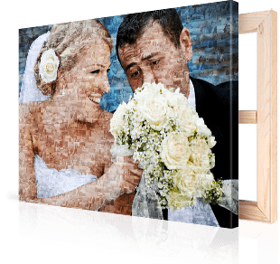 photo mosaic on canvas bride and groom