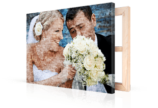 photo mosaic on canvas wedding pair small