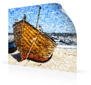 photo mosaic poster boat