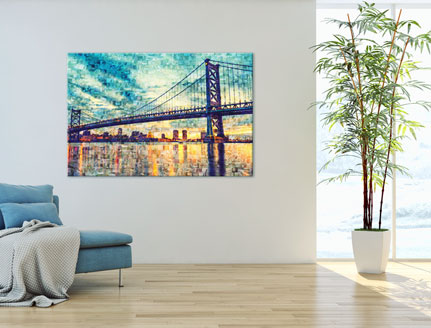 photo mosaic on canvas with bridge_sunrise
