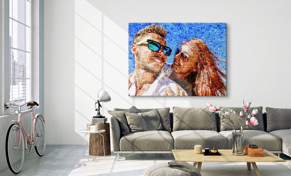 photo mosaic canvas room
