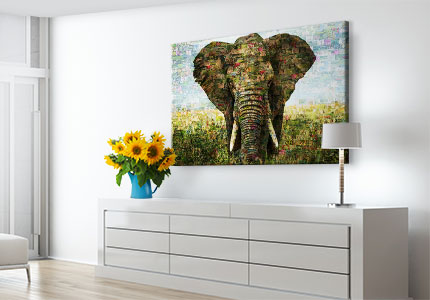 wohnraum mosaik alu elefant