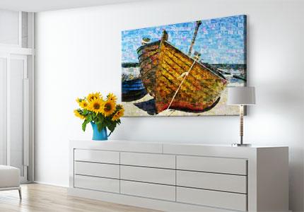 wohnraum mosaik poster boot